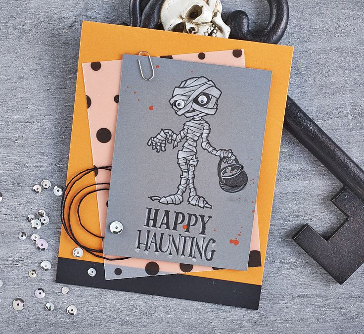 Handmade happy haunting Halloween card with Fun Stampers Journey stamps and pencils