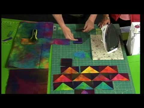 """The quilt show video """"One Seam Flying Geese"""" by Ricky Tims and Alex Anderson  Dimensional Flying Geese made with one seam demonstrated by Ricky Tims."""