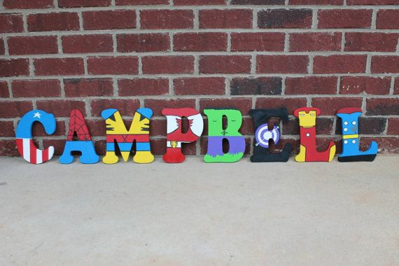 PRICE IS PER LETTER This listing is for Superhero/Avengers wooden letters. These are 6 to 18 inches tall and can be custom made to any superhero of your choice! I can also do larger or smaller letters. Please message me with any questions you may have