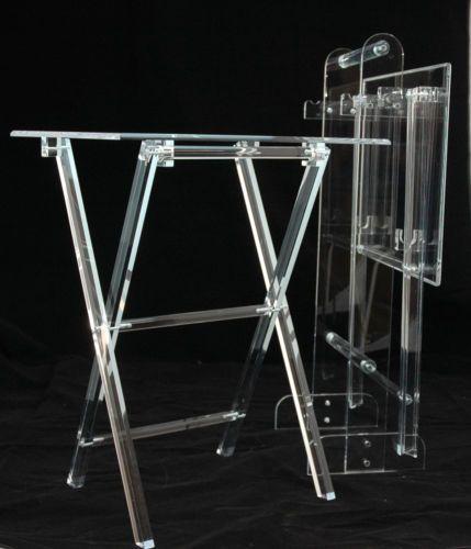 Clear Acrylic Lucite Plexiglass Folding Snack T V