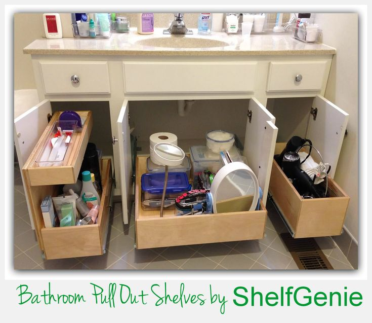 Double Height And Triple Height Pull Out Shelves Create Ideal Storage For Bathroom