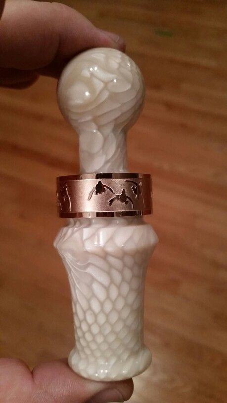 Real Calls, short barrel duck call. Made with Ivory Juma snake. Rose gold stainless steel band.  www.duckbandbrand.com