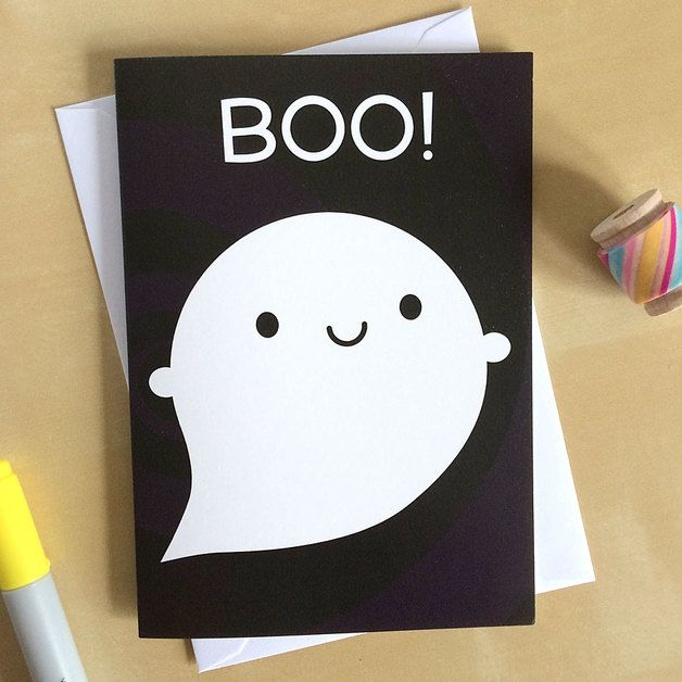 Scary gifts at DaWanda Say Boo! to your friends with this happy ghost card.  Ghosts aren't just for Halloween, especially if they're this cute! Featuring a happy ghost on a spooky grey swirly background, these cards are...