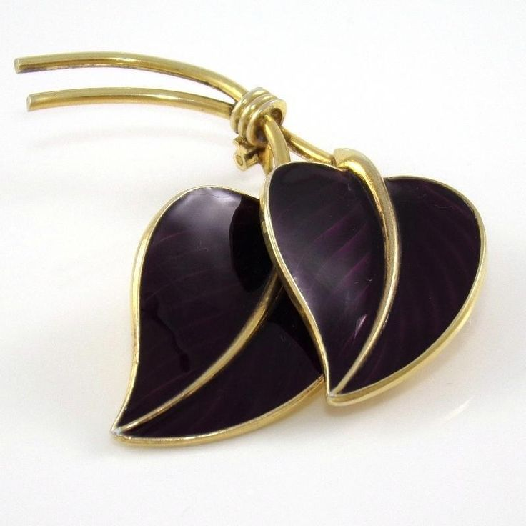 Vintage Hans Myhre Sterling Silver Large Modernist Purple Enamel Leaf Pin Brooch #HansMyhre