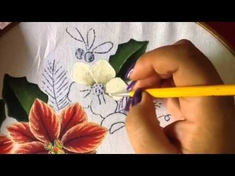 Pintura en tela en este video te enseño a realizar una bella nochebuena te invito a llevar a cabo esta hermosa labor ..básico