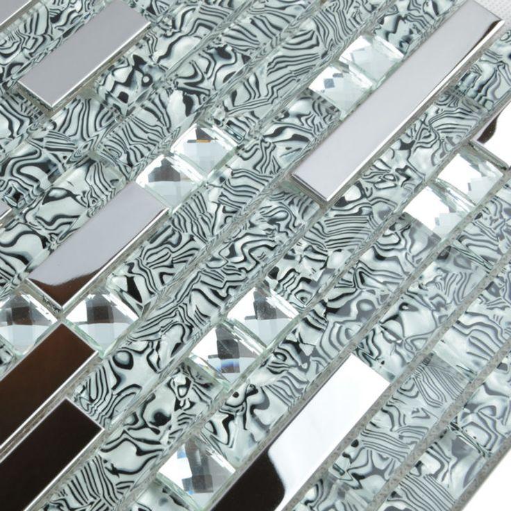 Interlocking Mosaic Tiles Wall Stickers Diamond Crystal Gl Stainless Steel Blend Metallic Tile Backsplash Bathroom Floor