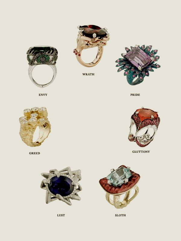 Seven Deadly Sins by Stephen Webster 2010    Good ideas. The tattoo artist aesthetic may be a good or a bad thing. These are limited edition pieces: only seven will be made of each ring. Prices range from £15,000 to £98,000 ($24,094 USD to $157,417 USD)  See sketches [here]; Stephen Webster's Tumblr [here]