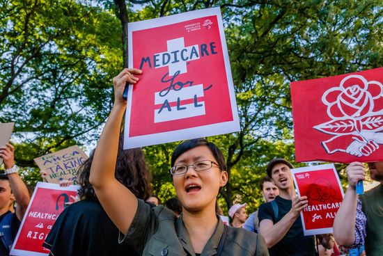 "The Socialist Feminists of Democratic Socialists of America (DSA) organized a protest outside of the New York County Republican Office in New York City on July 5, 2017; to tell Republicans that is it despicable and undemocratic that they are trying to ram ""Trumpcare"" through the Senate without debate or public hearings."
