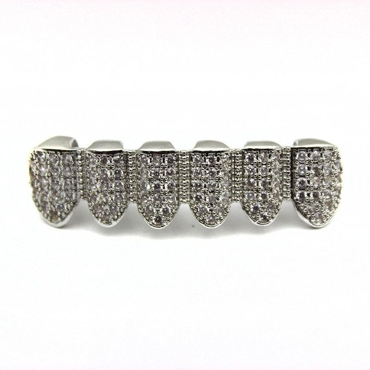 [BOTTOM] LUXURY ICED OUT DIAMOND SILVER GRILLZ