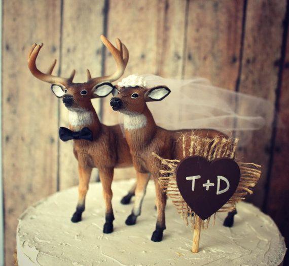 Hunting groom wedding cake topper-deer-buck and doe-customized wedding cake topper-wedding cake topper-buck hunter