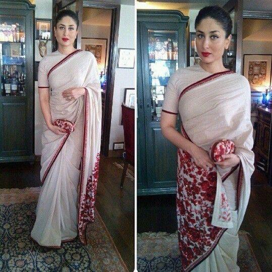 White and red embroidered Sabyasachi saree, Kareena Kapoor