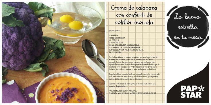 nuestra receta de crema de calabaza con confeti de coliflor morado y nuestra preciosa servilleta topos en www.papstar-shop.es