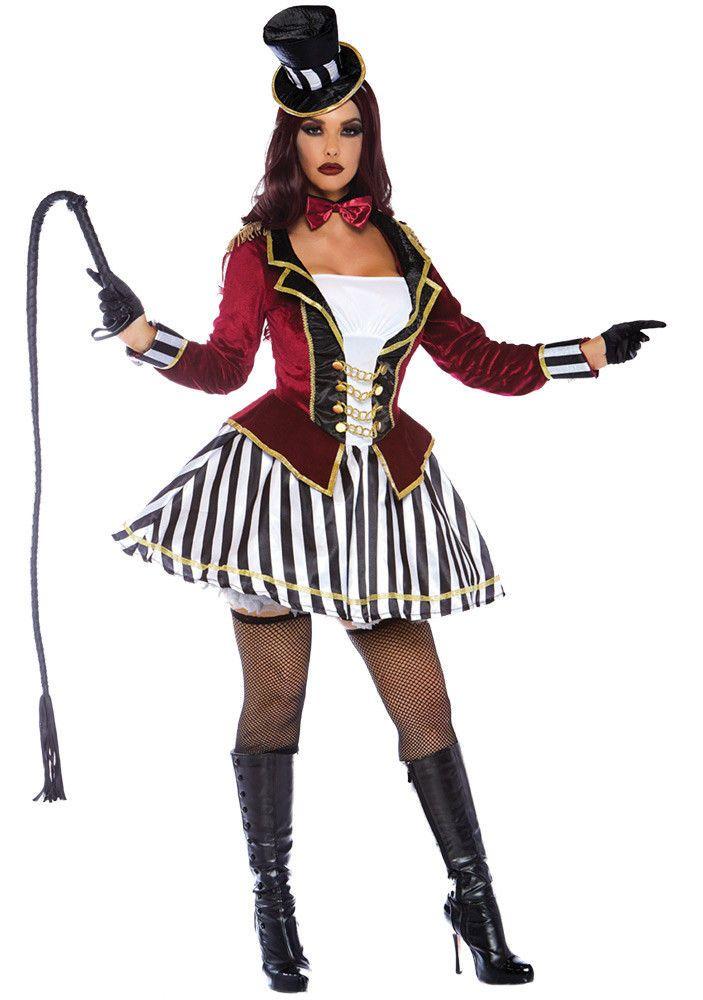 0cfe48209b Adult Womens Night Ringmaster Dark Circus Leader Freak Show Halloween  Costume