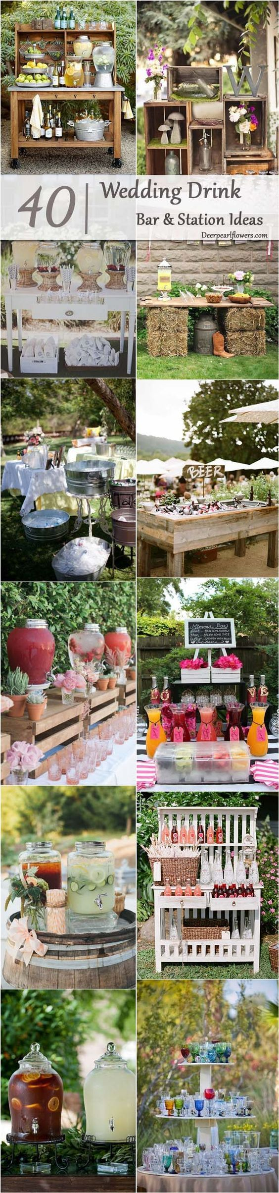 Whether you are hosting a bridal shower, a garden wedding or a day-after brunch, drink stations are a lovely way to really get creative and interactive with your decor.  How can you organize them?  We've rounded up some of our favorite wedding drink station ideas to inspire you.