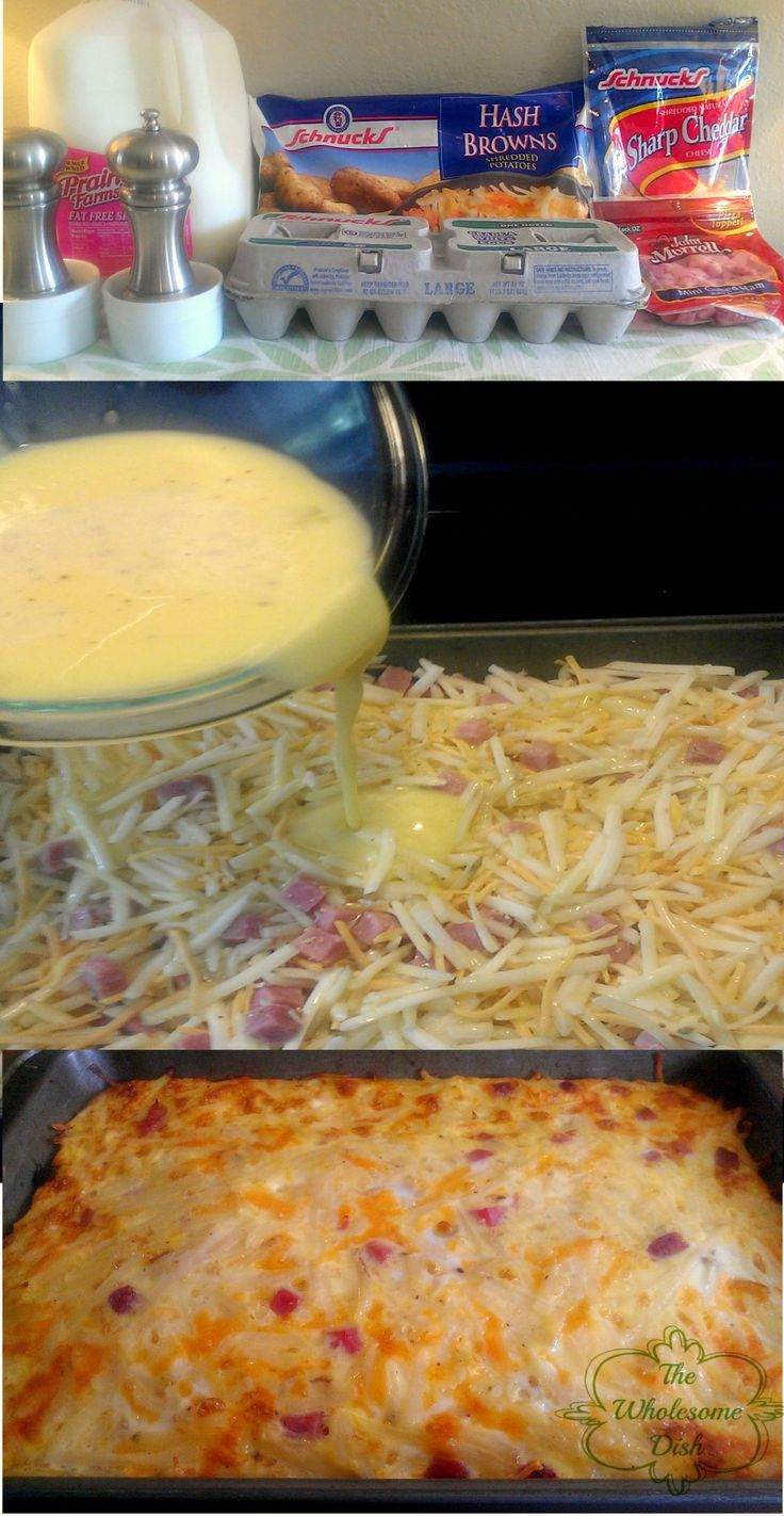 Hash brown, egg, ham & cheese breakfast casserole...I've made before and it's