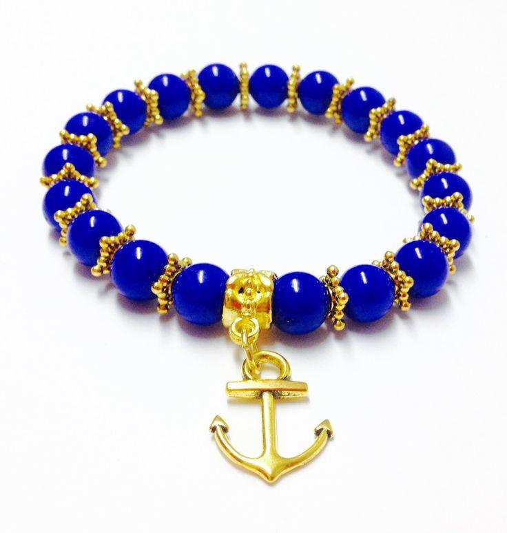 Anchor Bracelet - Jade Bracelet - Jade Anchor Bracelet - Elastic Anchor Bracelet - Beaded Anchor Bracelet - Anchor Charm Bracelet - Gemstone by OurUniverseShop on Etsy
