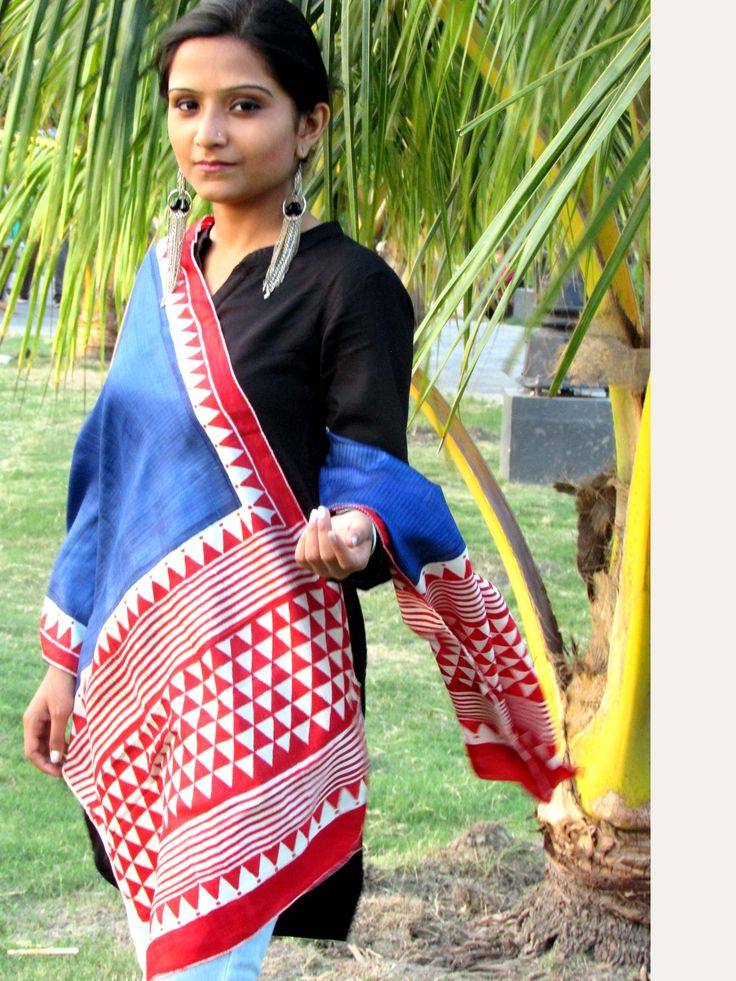 """Hand-block printed pure silk long scarf/stole. Can be worn with a shirt or a kurta. Size: 23""""x78"""""""