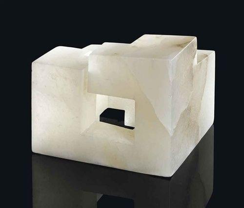Eduardo Chillida (Spanish Basque, 1924-2002), Elogio de la arquitectura IV, 1974.  Alabaster (15 x 17 x 16cm.)