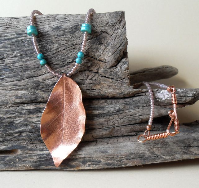 Copper Beech Leaf Pendant £20.00