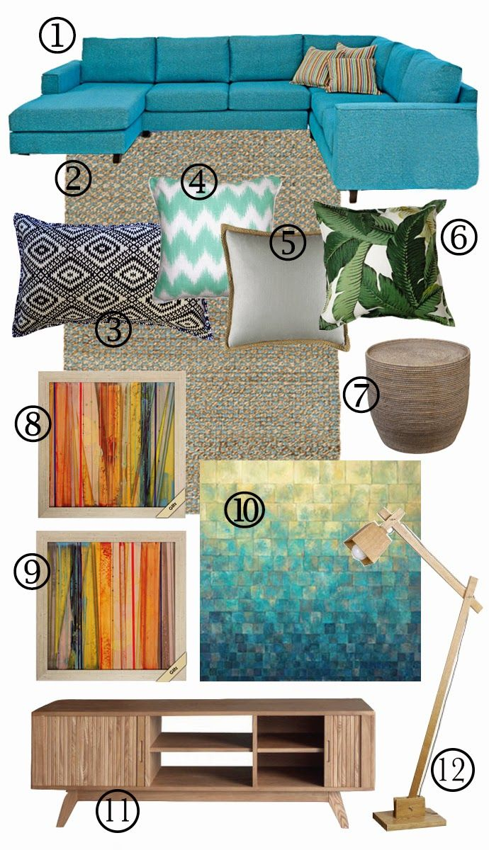 A house full of sunshine: Peacock blue and hot pink mid-century-modern mood board