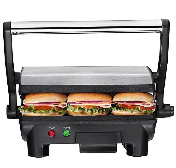 Panini Maker Sandwich Press Toaster Breakfast Kitchen Electric Stainless Steel #Chefman