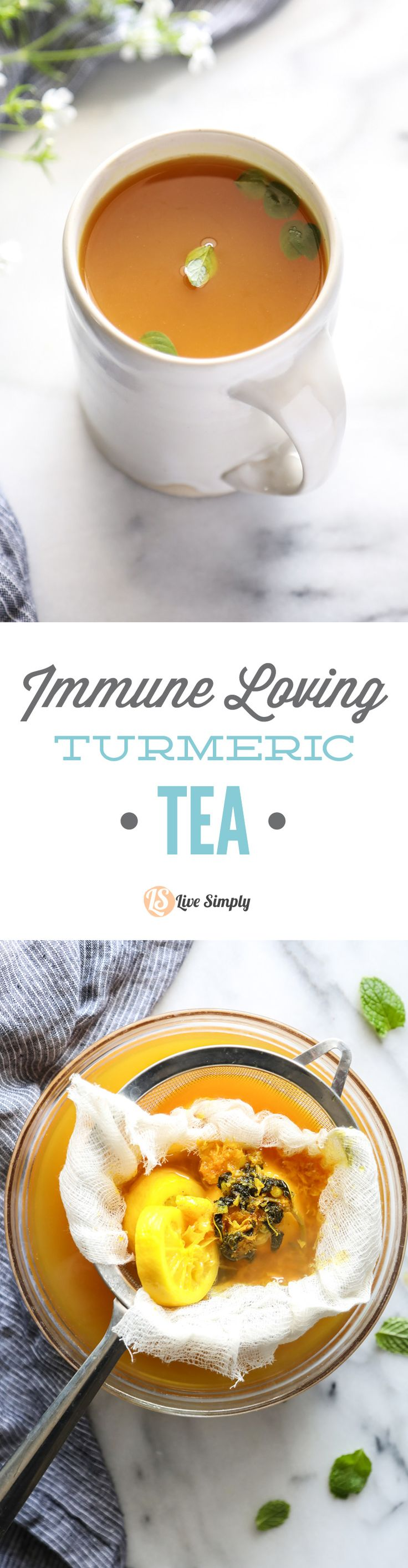 "So good! A homemade turmeric, ginger, lemon, mint, and honey tea. So easy to make. Enjoy daily, and/or when you're feeling ""under the weather."""