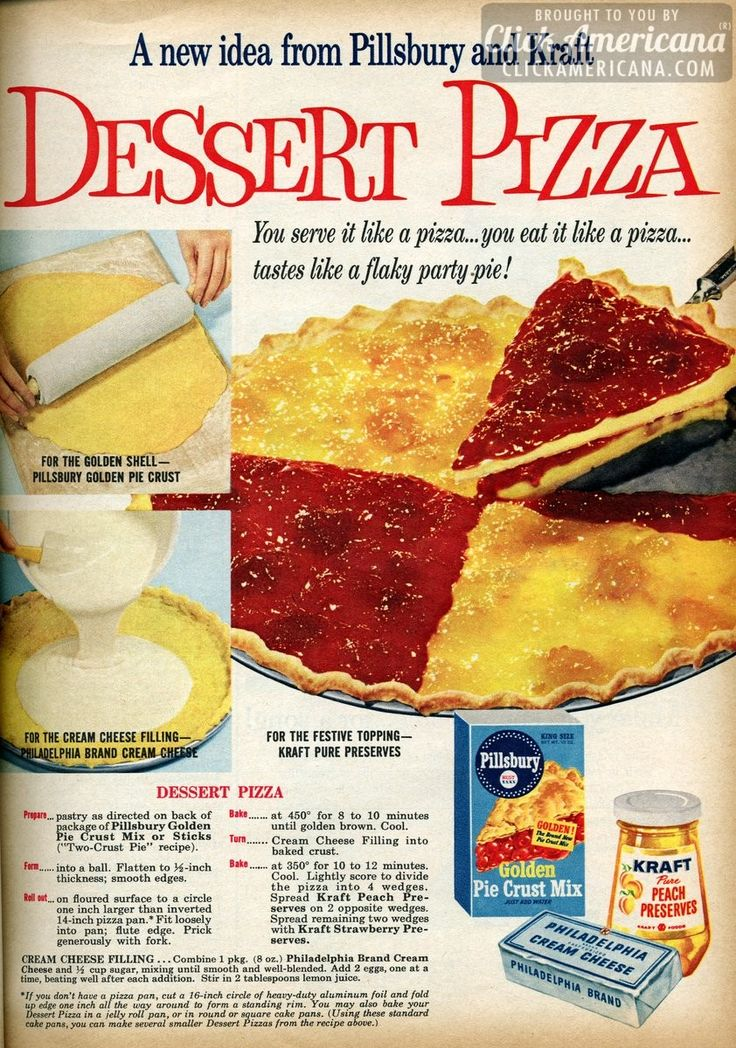 Peach & strawberry dessert pizza (1959) - Click Americana
