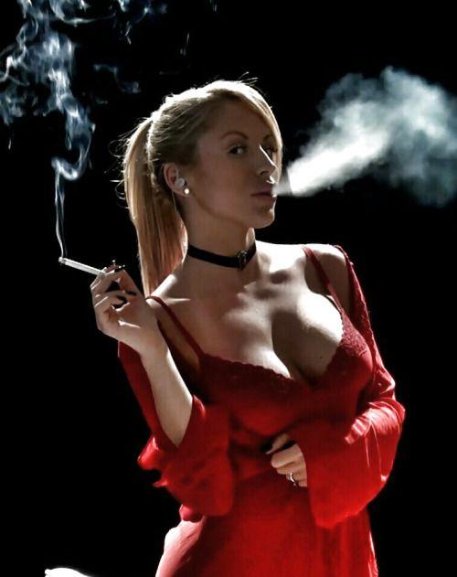 Long cigarette fetish business woman