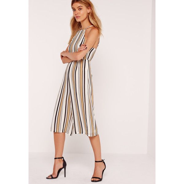 Missguided Petite Exclusive Striped Culotte Jumpsuit ($48) ❤ liked on Polyvore featuring jumpsuits, camel, cami jumpsuit, pink jumpsuit, pink camisole, striped jumpsuit and petite jumpsuit