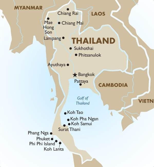 Conoce el mapa de Tailandia y sus ciudades, para que tengas una clara referencia de qué sitios querrás visitar al empezar tu aventura turística, aprovéchalo