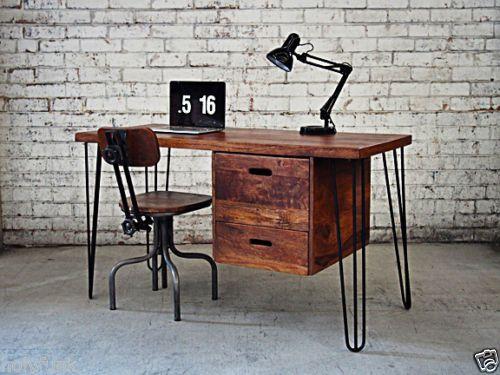 SCANDINAVIAN-OFFICE-STUDY-DESK-TABLE-Danish-Furniture-Hairpin-Legs-Vintage-Retro