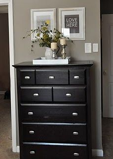 A dresser along a short wall for more hidden storage for tidy house