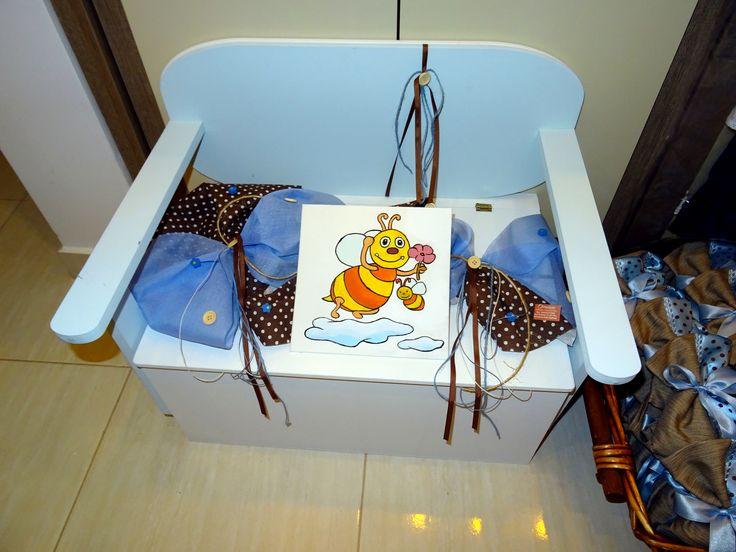 Σετ βάπτισης σιέλ με καφέ πουά και σχέδιο μέλισσα