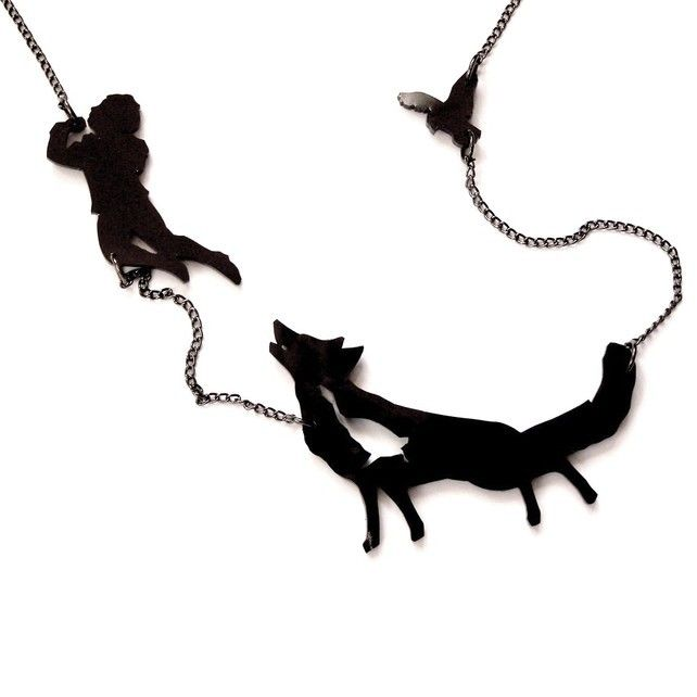 Peter and the Wolf Fairytale Silhouette Necklace