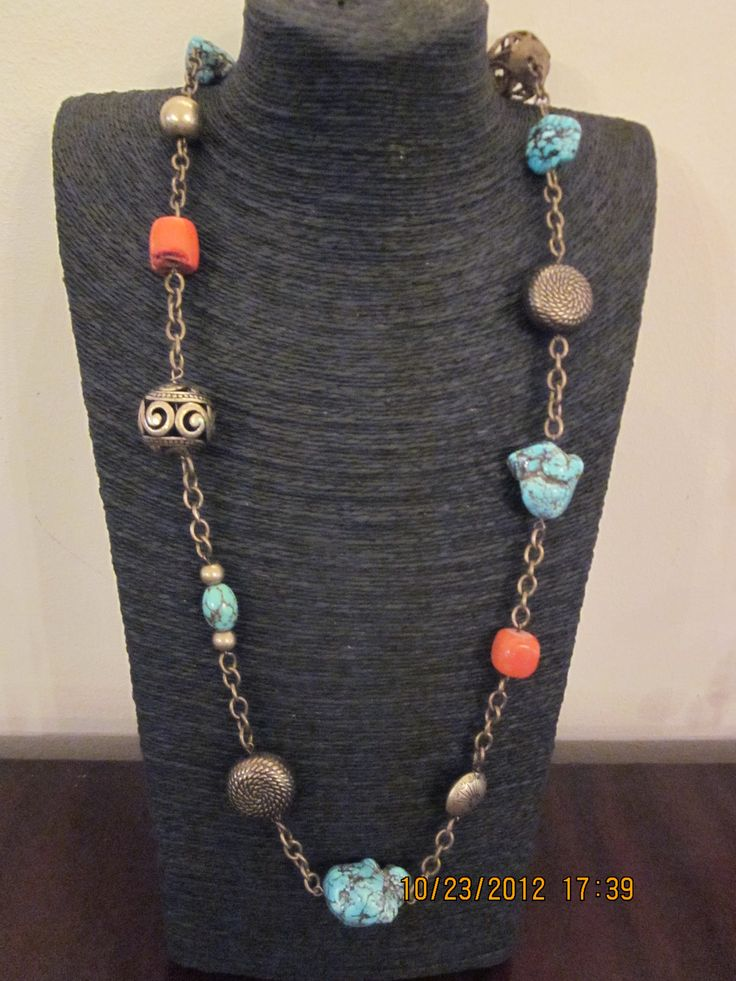 Turquoise coral and brass necklace