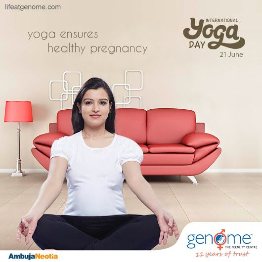 """""""Practise yoga to manage shortness of breath & ease labor pain during pregnancy."""" On International Yoga Day Genome supports the practise of yoga for the well-being of all would-be-mothers in order to experience healthy childbirth.  P.S. practise 'yoga' only under the guidance and observation of experts."""
