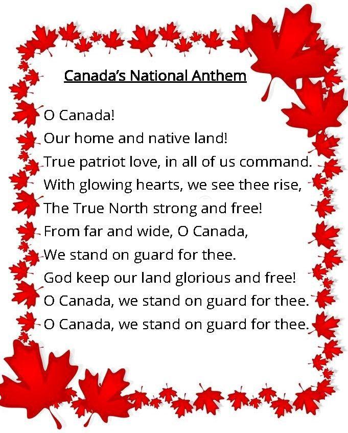 Image Result For O Canada Lyrics O Canada Lyrics Canada For Kids O Canada