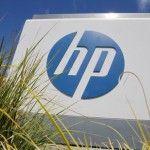 Hewlett-Packard Co. logo is seen outside the company's headquarters in Palo Alto