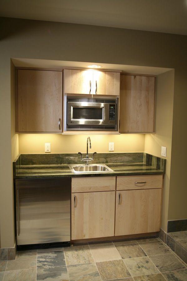 small basement kitchenette... add full -size fridge and replace small with dishwasher