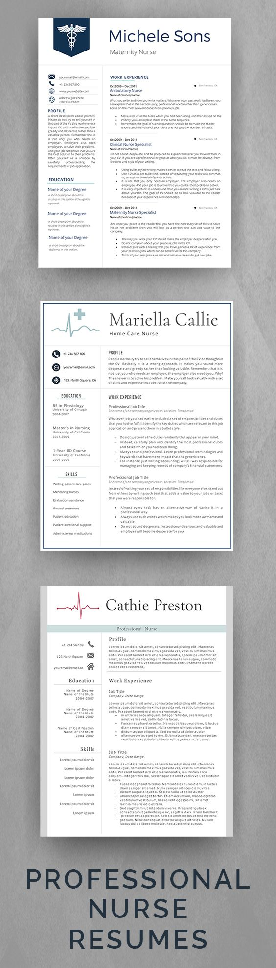 Professional Nurse Resume Templates for Medical Professionals. Elegant and Easy to Edit Nurse CV Templates. Includes 2 Page CV Template + Matching Cover Letter + Matching Additional References Page. Nurse Resumes by AvataDesigns.