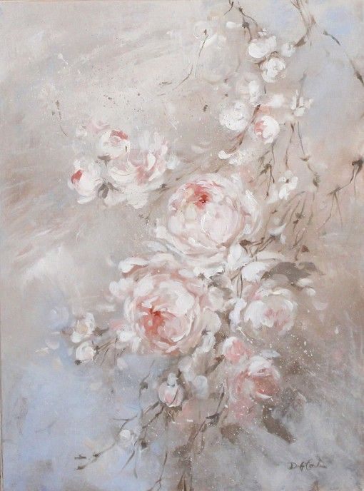 Shabby Chic Romantic Blush Roses Original Painting by Debi Coules