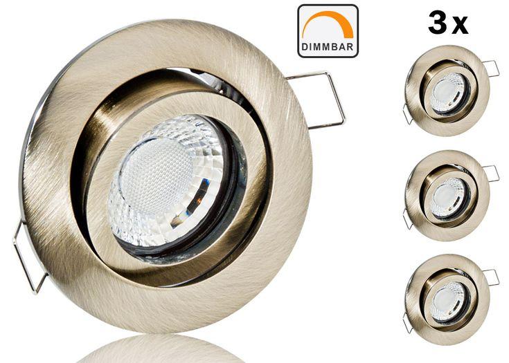 3er LED Einbaustrahler Set extra flach mit Marken Flat LED Spot LcLight 5 Watt Keramik Altmessing Rund Dimmbar 40 Watt Ersatz