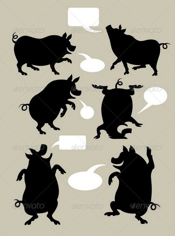 Pig Dancing Silhouettes Set