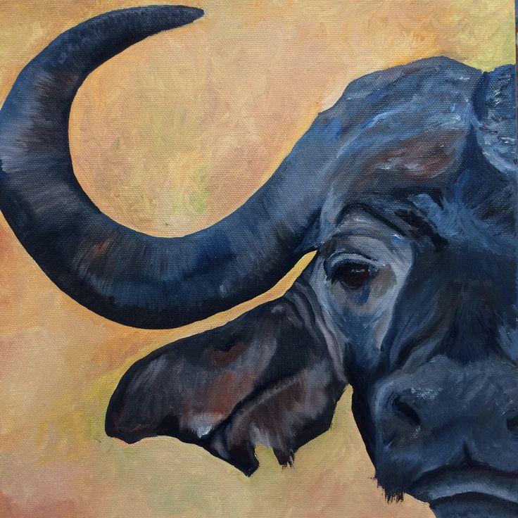 Waterbuffel, olieverf 30 x 30 cm