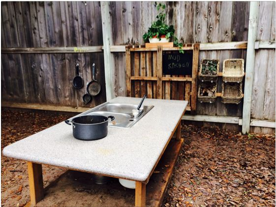 Mud pie kitchen - invitation to play and learn