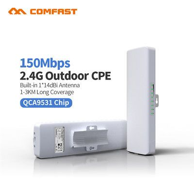 ﹩48.99. 150Mbps Outdoor Wireless Access Point High Power AP WiFi Bridge CPE USA Stock   Based on WEB Management - Support, Color - White, Encryption - Support 64/128 bits WEP, WPA, WPA2, 802.1X, Frequency Range  Channels - 2.3~2.7GHz;5MHz,10MHz,20MHz,40MHz, MAC Address Control - Support, Max. Wireless Data Rate - 150Mbps, Network Connectivity - Wireless-Wi-Fi 802.11b, SNMP MIB - Support, Support Protocols - CSMA/CA, TCP/IP, IPX/SPX, NetBEUI, DHCP, NDIS3/4/5, Telnet - Support, Waterpr