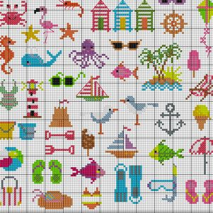 Summertime Beach patterns to cross stitch Cross Stitch PDF available