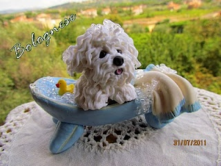 Polymer clay Bolognese dog in bubble bath:)