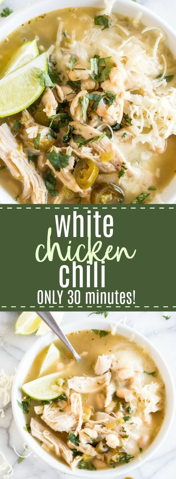 White Chicken Chili. This hearty chili is loaded up with chunks of juicy chicken and has a smooth mild flavor with just a hint of heat. Made with shredded chicken, white beans, diced green Chiles and flavorful spices. If you have shredded chicken on hand already this recipe can be put together start to finish in ONLY 30 MINUTES! #chili #chicken #dinner #quickandeasy #healthy #light