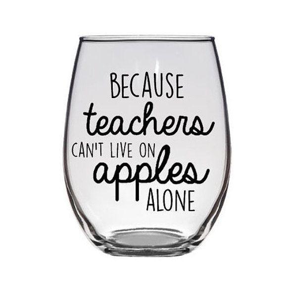 Christmas Gift for Teacher Wine Glass Present by KrisGetsCrafty